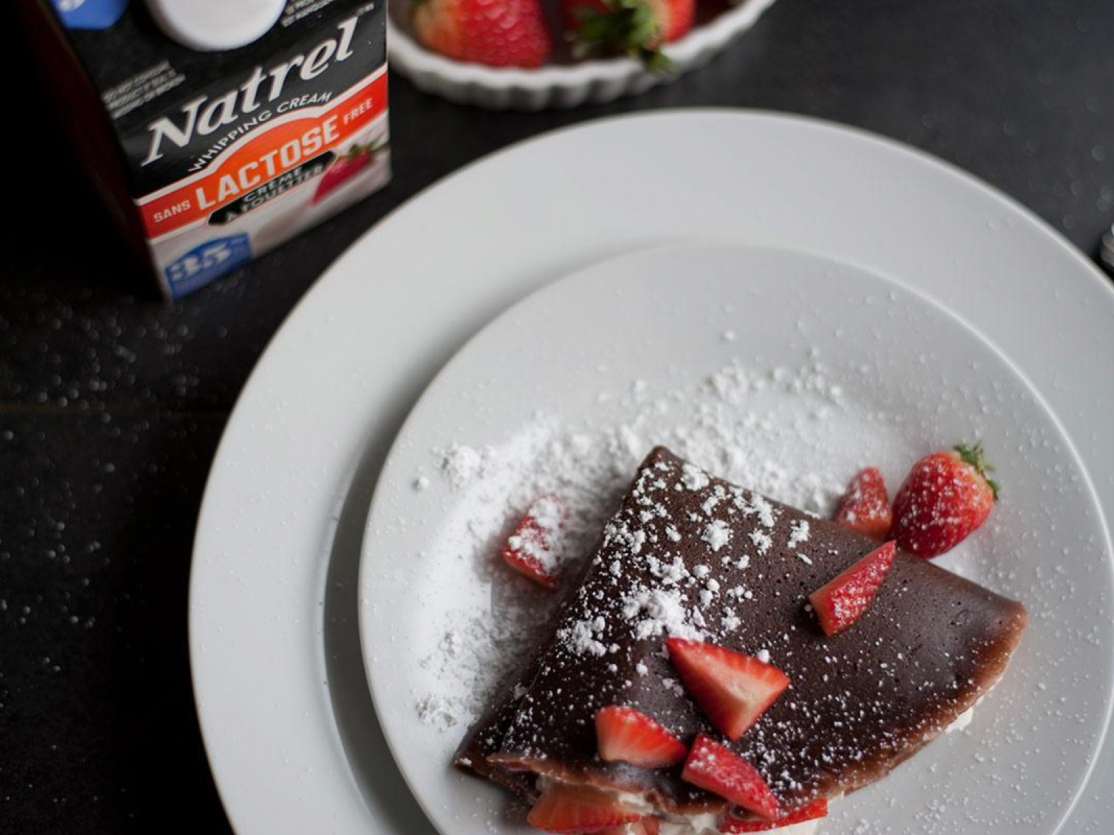 Dark Chocolate Crêpes with Brandy Cream
