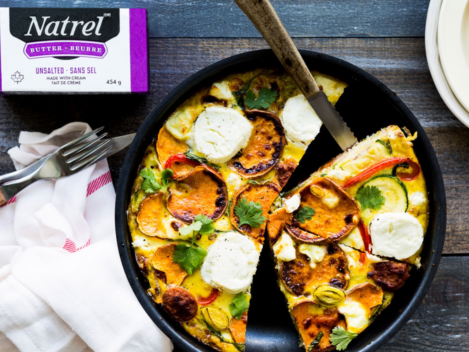 Vegetable frittata with sausage and goat cheese