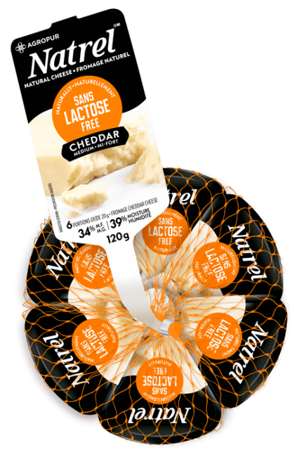 Natrel Medium Lactose Free Cheddar Portion Packs